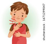 sore throat or pain. the boy is ...   Shutterstock .eps vector #1671299047