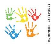 hands print paint set colors...   Shutterstock .eps vector #1671348331