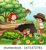scene with kids and animals in... | Shutterstock .eps vector #1671372781