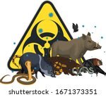 vector angry wild animal with... | Shutterstock .eps vector #1671373351