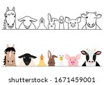 cartoon farm animals border set | Shutterstock .eps vector #1671459001