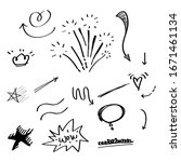hand drawn set of abstract... | Shutterstock .eps vector #1671461134