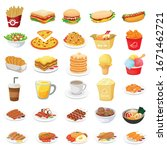 30 set food and drink... | Shutterstock .eps vector #1671462721