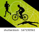 triathlon marathon active young ... | Shutterstock .eps vector #167150561