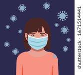 little girl avatar wearing mask ... | Shutterstock .eps vector #1671514441