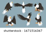 collection of bald eagles in... | Shutterstock .eps vector #1671516367