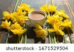 Spring Coffee Time. Daffodils...