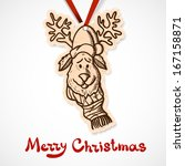 reindeer in holiday clothes.... | Shutterstock . vector #167158871