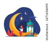muslim hijab girl sitting on... | Shutterstock .eps vector #1671636694