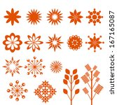 set of  flowers and leafs | Shutterstock .eps vector #167165087