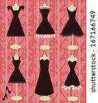 romantic black dresses on the... | Shutterstock .eps vector #167166749
