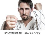 Small photo of Martial arts master in white fight dress do a hapkido exercise, isolated on white background