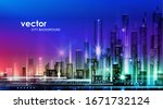 night city illustration with... | Shutterstock .eps vector #1671732124