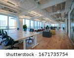 Small photo of Interior of modern empty office building.Open ceiling design.
