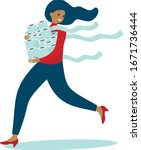 woman in panic shopping in a...   Shutterstock .eps vector #1671736444