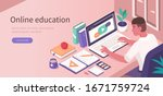 student learning online at home.... | Shutterstock .eps vector #1671759724