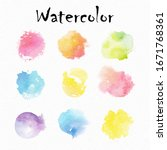 rainbow colors watercolor paint ... | Shutterstock .eps vector #1671768361
