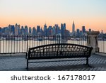 Bench In Park And New York Cit...
