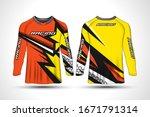 long sleeve t shirt sport...   Shutterstock .eps vector #1671791314