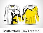 long sleeve t shirt sport...   Shutterstock .eps vector #1671795214