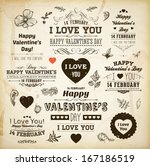 set of happy valentine's day... | Shutterstock .eps vector #167186519