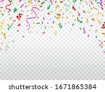 confetti flying on transparent... | Shutterstock .eps vector #1671865384