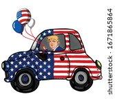 donald trump caricature driving ...   Shutterstock .eps vector #1671865864