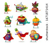 set of vegetables in... | Shutterstock .eps vector #1671871414