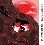 wild nature background fox red...   Shutterstock . vector #1671880714