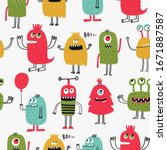 seamless vector pattern with... | Shutterstock .eps vector #1671887587