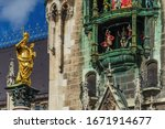 Statue of Maria at Marienplatz in Munich, Germany