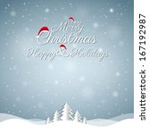 christmas greeting card. merry... | Shutterstock .eps vector #167192987