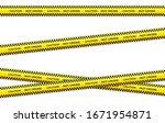 vector set of restriction tapes ... | Shutterstock .eps vector #1671954871
