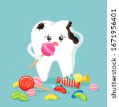 cute tooth characters feel bad... | Shutterstock .eps vector #1671956401