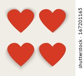 set of 4 red paper hearts ... | Shutterstock .eps vector #167201165