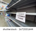 A view of empty shelves at a...