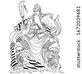 Guan Yu Vector Line Art...
