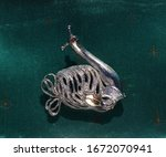 Snail With Ornate Silver Tone...
