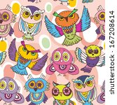 seamless pattern sketch owls on ... | Shutterstock . vector #167208614