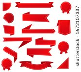 red ribbon banner set. red...   Shutterstock .eps vector #1672107337