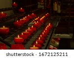 Red Candles In Row In Church