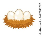 Nest With Eggs Cartoon On White ...