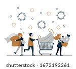 people do panic buying because... | Shutterstock .eps vector #1672192261
