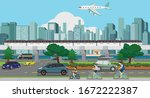 townscape of high speed rail...   Shutterstock .eps vector #1672222387