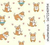 Seamless Pattern Of Cute Corgi...