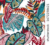 hand drawn abstract tropical...   Shutterstock .eps vector #1672258621