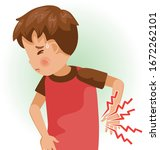 low back pain or sore. the boy... | Shutterstock .eps vector #1672262101