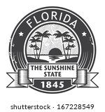 Grunge rubber stamp with name of Florida, vector illustration