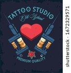 tattoo studio machines with... | Shutterstock .eps vector #1672329571