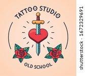 sword in heart tattoo studio... | Shutterstock .eps vector #1672329691